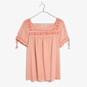 Madewell Embroidered La Villa Peasant Top